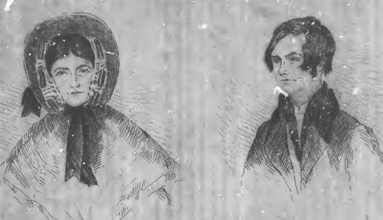 Drawing of a man and a woman wearing winter coats in the snow.