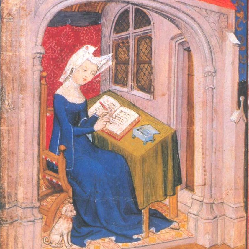medieval painting of woman writing