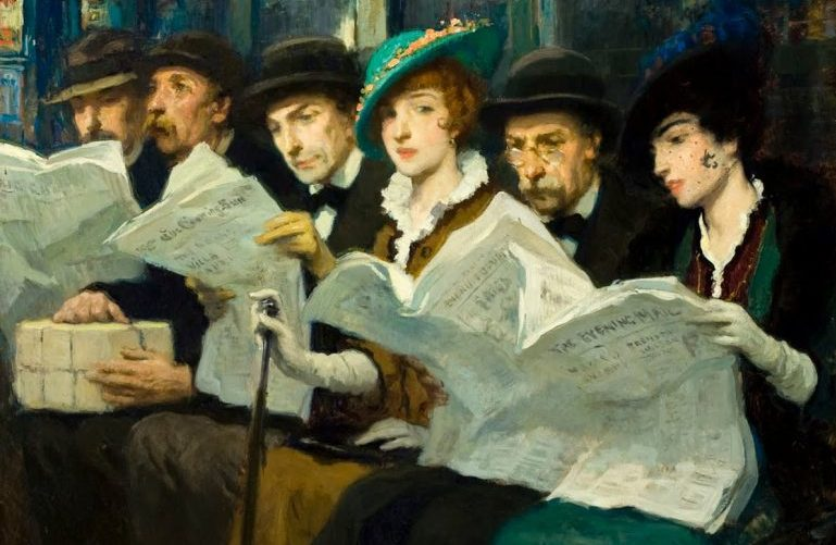 painting of young adults sitting together reading newspapers