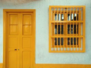 wooden door and covered window