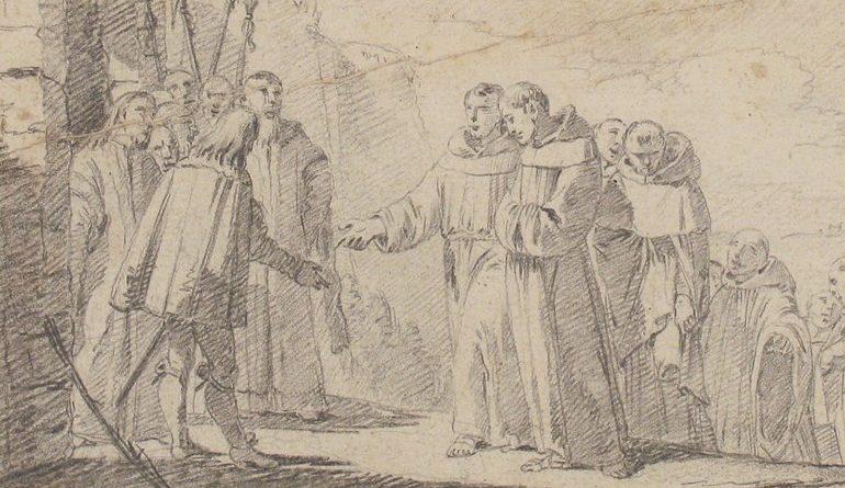 old drawing of men meeting monks