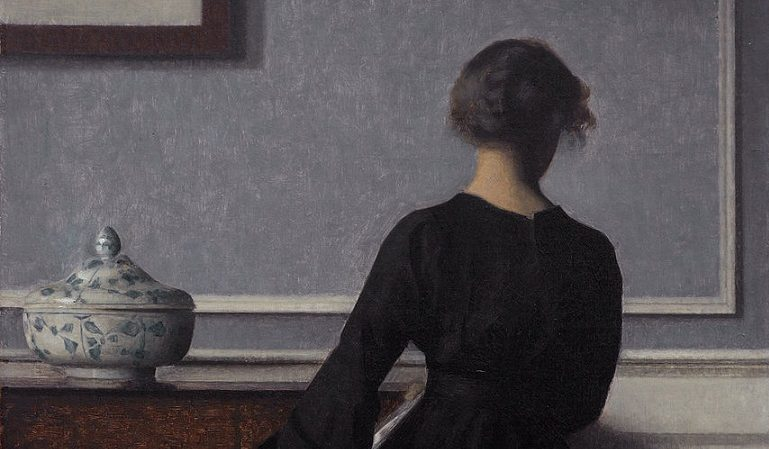 painting of woman in black with back turned