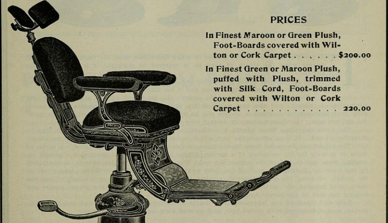 old dental chair image with prices list next to it