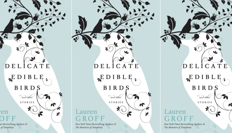 delicate edible birds book cover in repeated pattern