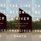 The Line Becomes a River cover in a repeated pattern