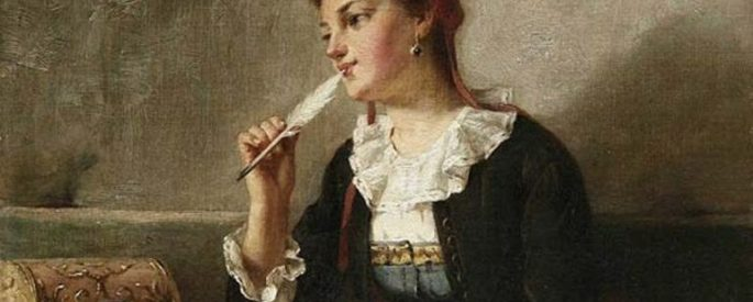 woman with a white quill