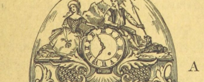 drawing on beige paper of a woman and man on top of a clock, under a glass dome