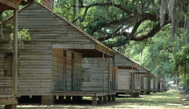 line of wooden cabins