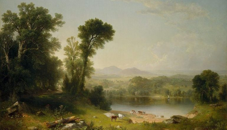 Trees, a lake, and cattle in a pastoral painting