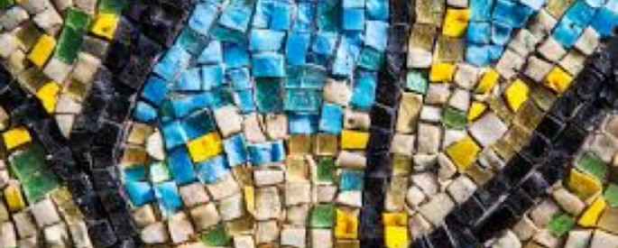 tile mosaic with blue, yellow, green, beige, and black