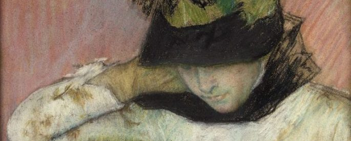 painting of a woman wearing a hat, which hides her eyes