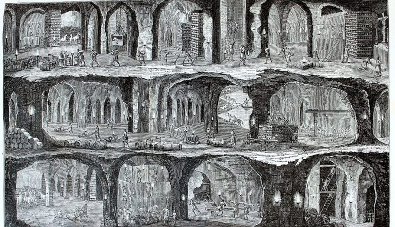 black and white print of underground view of the Salt Mines in Wieliska, Galicia