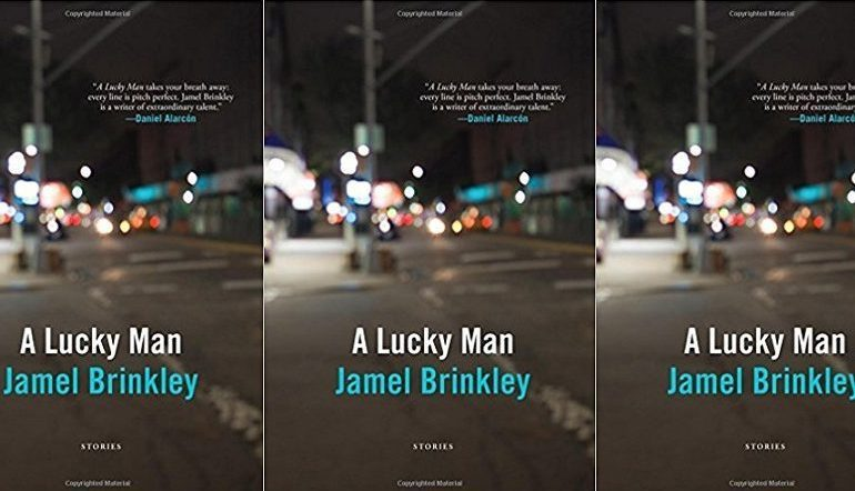 A Lucky Man book cover in a repeated pattern