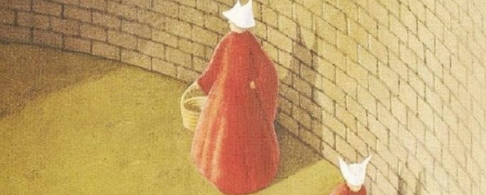 part of The Handmaid's Tale book cover, a drawing of two women in red cloaks and white hats walking in front of a brick wal