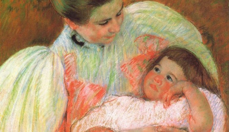 painting of woman holding child
