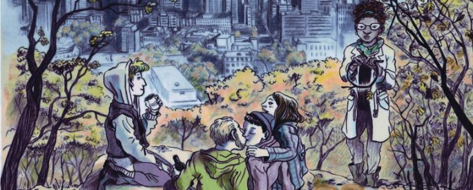 illustration on cover of Body Music, five people in an autumnal park, a cityscape behind them