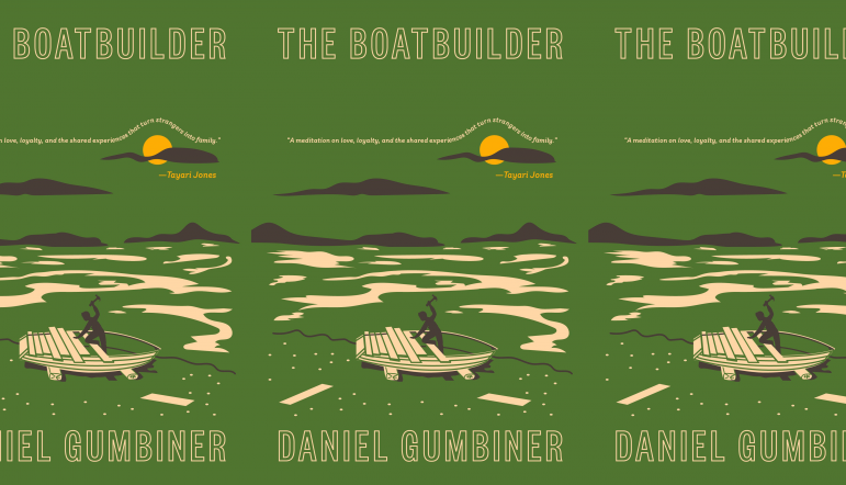 The Boatbuilder book cover in a repeated pattern