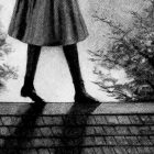 Anne walking precariously across a rooftop, only her skirt and legs are seen in the image