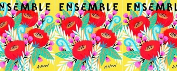 The Ensemble book cover in a repeated pattern