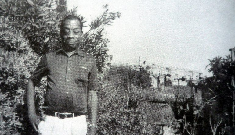 black and white photograph of James Baldwin in Saint-Paul-de-Vence