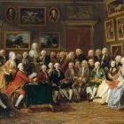 salon of Madame Geoffrin - there are mostly men in the painting, with a couple women in the crowd
