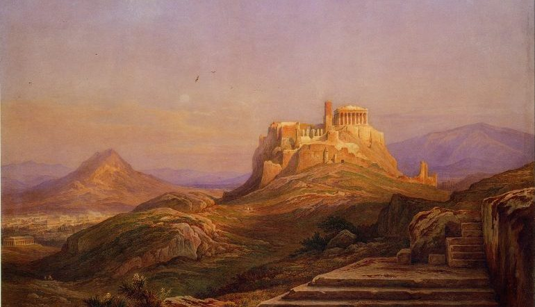 painting of the Acropolis on a hill in the distance, bathed in light