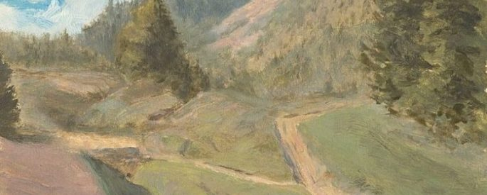 painting of a green mountain area with a dirt path that splits into two - fork in the road