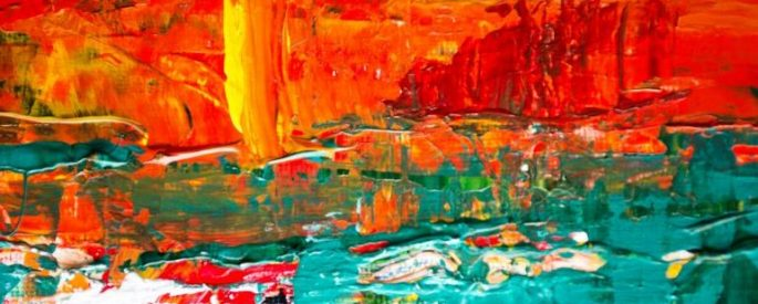 abstract painting with red and yellow on top half, green on the bottom