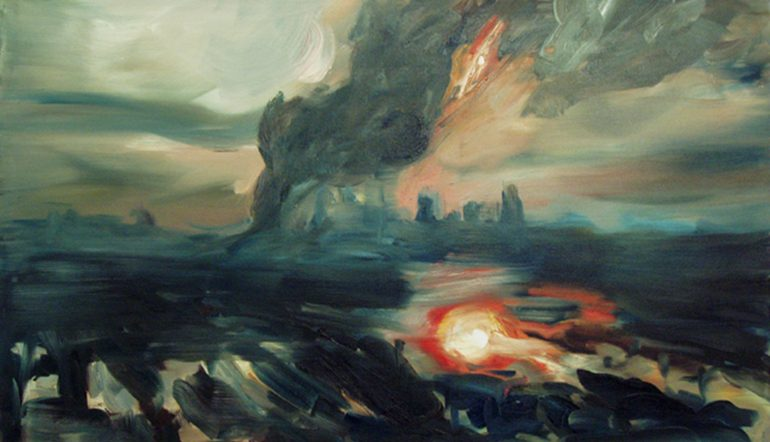 abstract painting of an distant view of the aftermath of Hurricane Katrina in New Orleans - smoky sky, orange fire, lots of dark blues