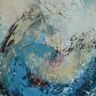 abstract, textured painting, what could be a representation of a wave - blues, yellows, reds, black