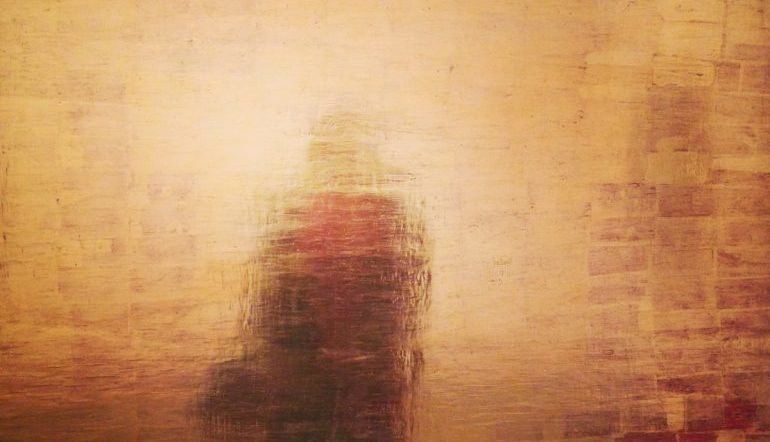 shadowy silhouette against a gold wooden-textured background