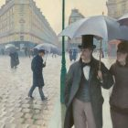 Gustave Caillebotte 19th-century painting of man and women under an umbrella walking a Paris street