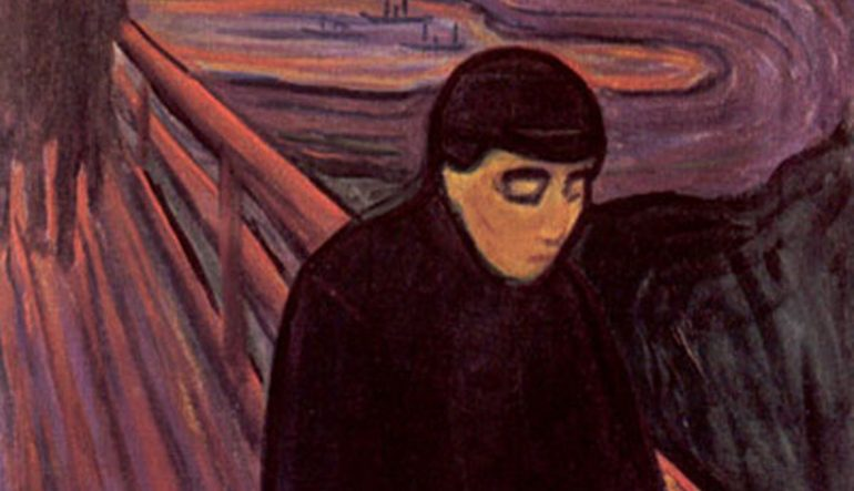 Edvard Munch painting, Despair - person on a fenced bridge with eyes cast downward