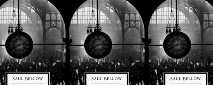 Herzog cover, black-and-white with a clock in the foreground, in a repeated pattern