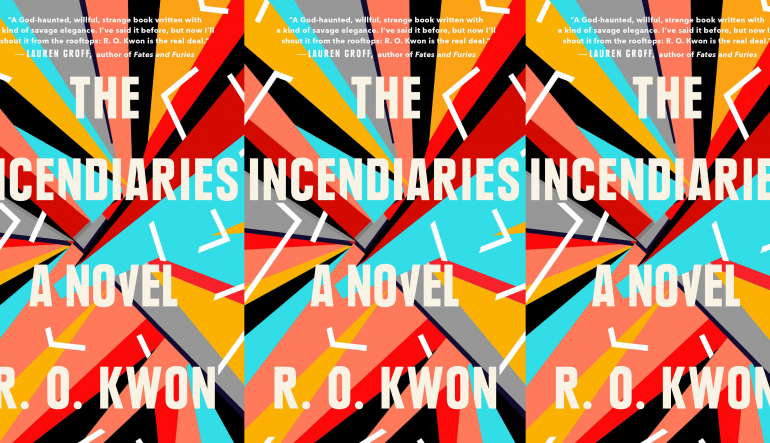 The Incendiaries cover in a repeated pattern