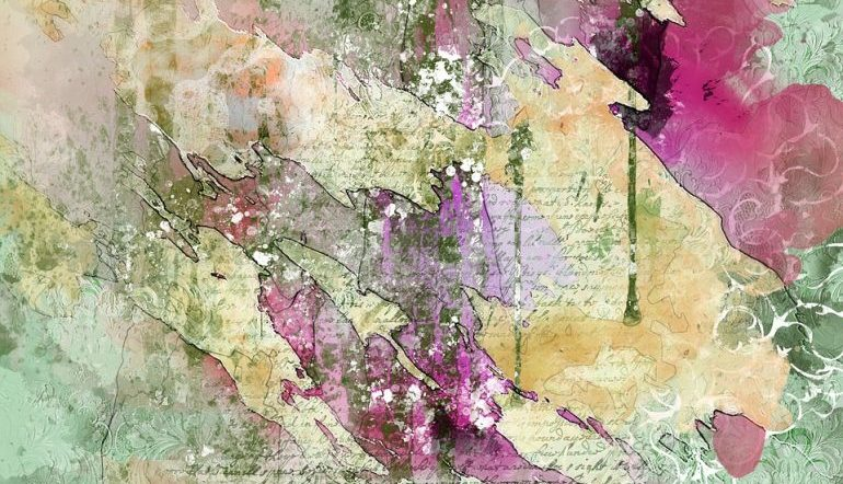 book pages painted over with pinks, greens, yellows
