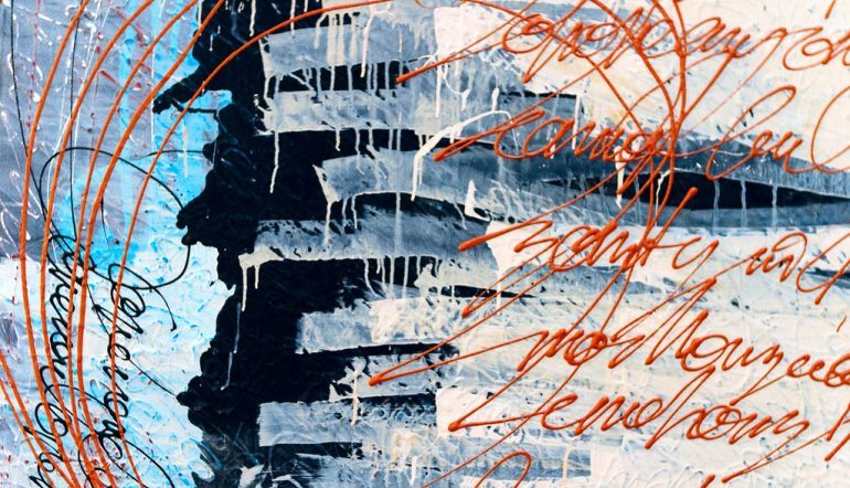 Choichun Leung abstract painting with blues in the background an a rift left of center, what appears to be orange cursive writing on both sides, orange arcs connecting the two sides