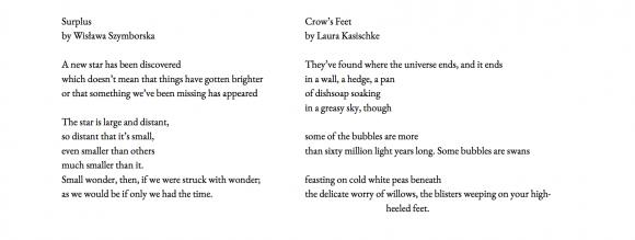 "Szymborska's ""Surplus"" and Kasischke's ""Crow's Feet"" side by side"