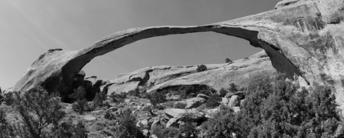 arched rock formation at Arches National Park, in black and white