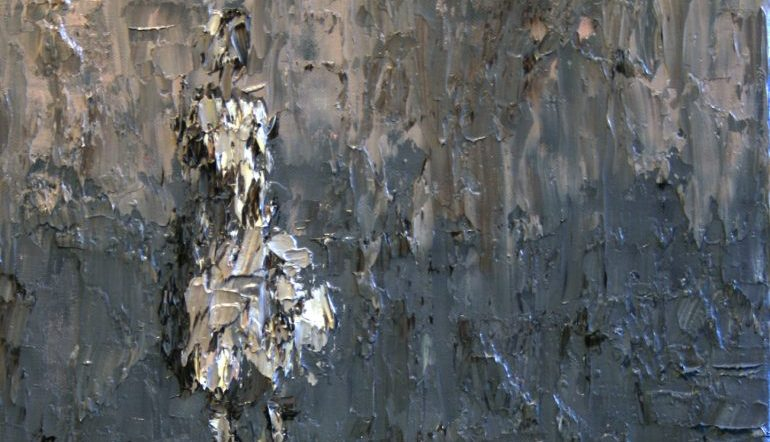 grey painting of an abstract figure