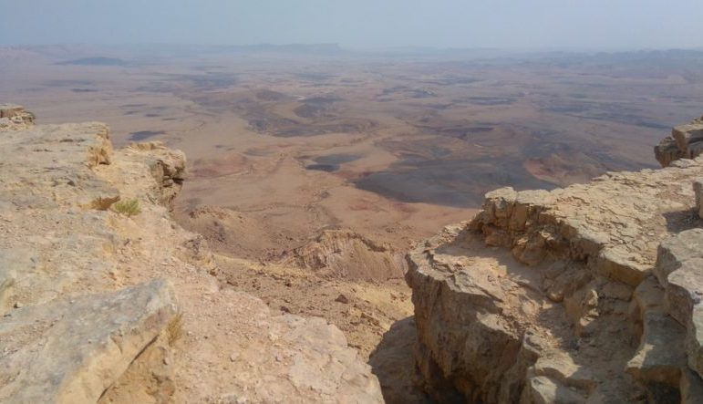 light-sand–colored desert and rock in Mitzpe Ramon, Israel