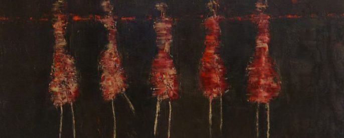 abstract figures in red tones against a dark brown background