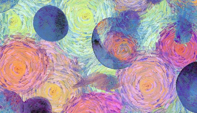textured painting of overlapping circles in pinks and blues