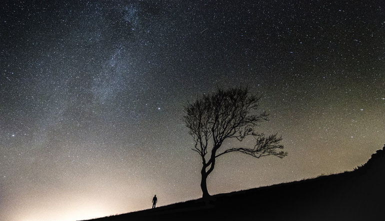 night starry sky with dark silhouettes of a tree and a person on an incline in the distance