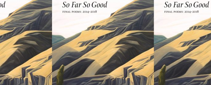 Cover of So Far So Good: a painting of large mountains with greenery and a river in the foreground.