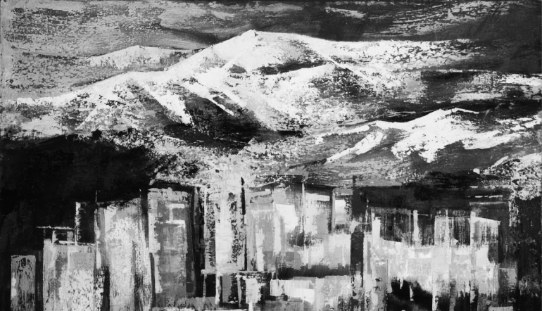 abstract black and white painting of mountain in background with cityscape in the foreground
