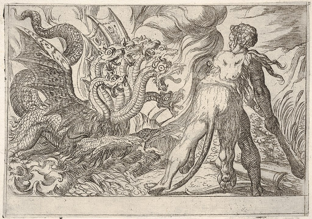 An old etching of the Greek hero Hercules fighting the monster Hydra of Lerna.
