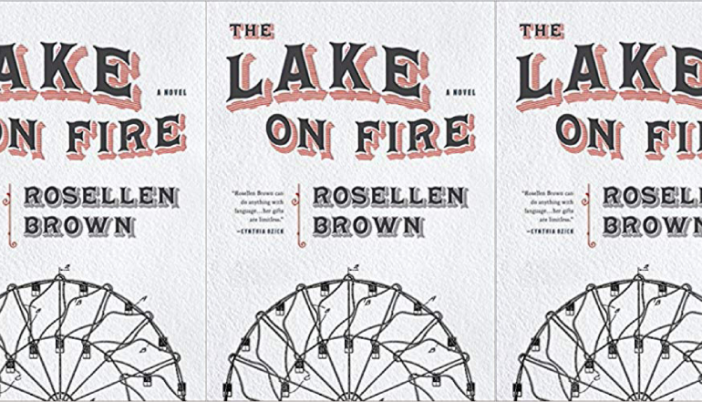 The Lake on Fire by Rosellen Brown cover in repeating pattern