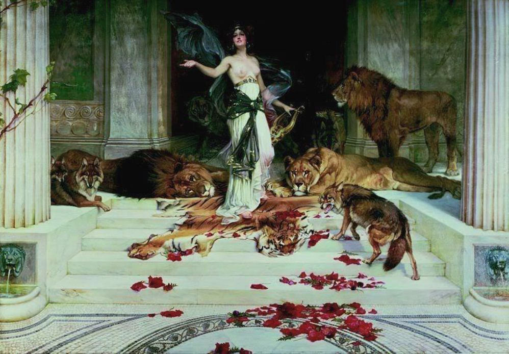 Classic Greek painting of the goddess Circe surrounded by wild animals