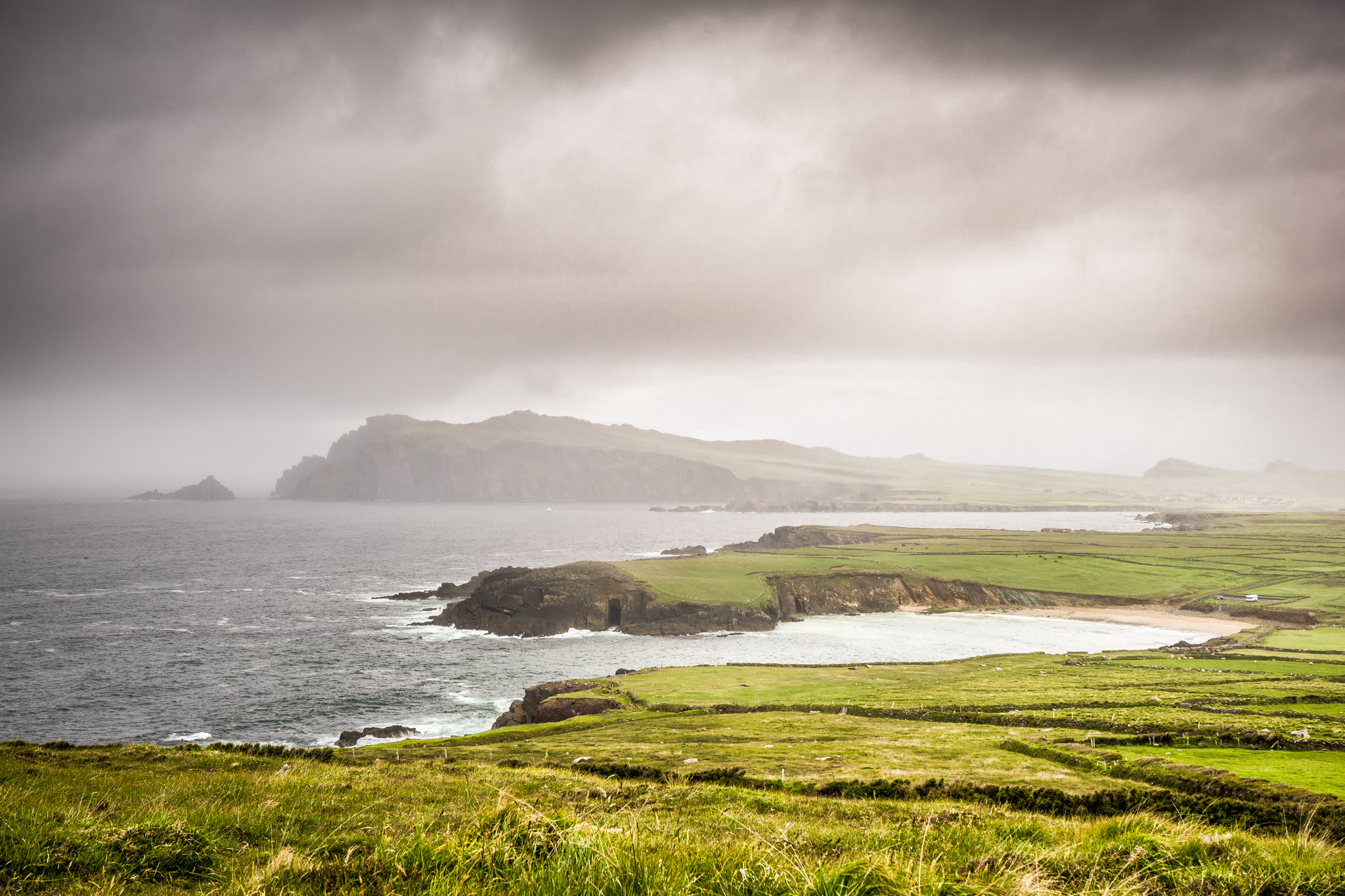 Photograph of a foggy coast of Ireland